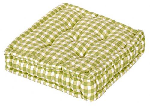 GREEN COLOUR GINGHAM CHECK DINING / GARDEN CHAIR BOOSTER CUSHION SEAT PAD